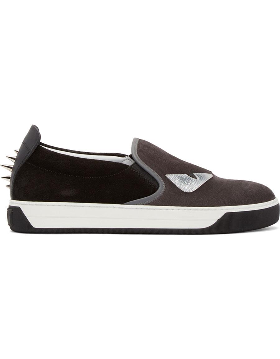 FENDI Grey & Black Monster Slip On Sneakers