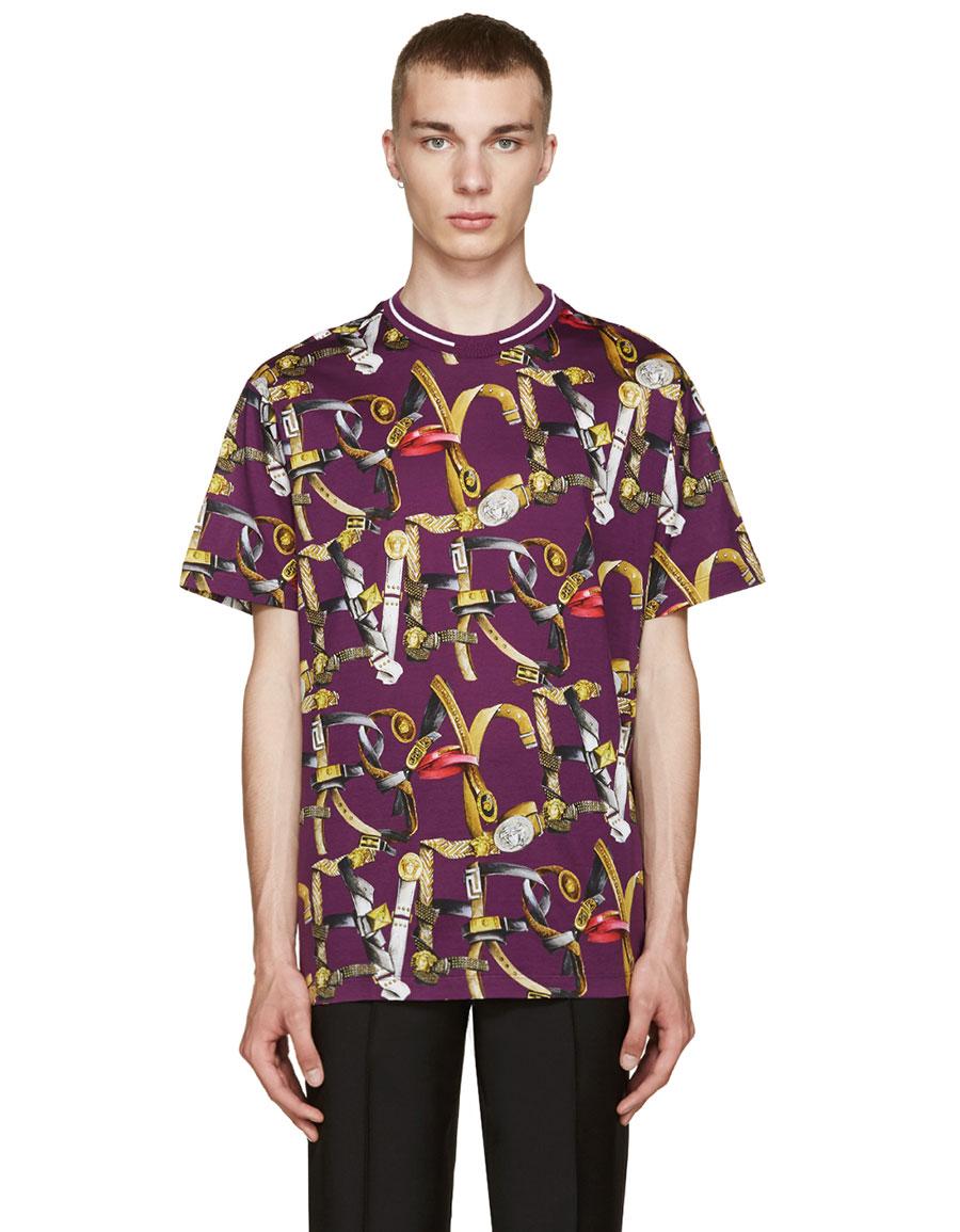 VERSACE Purple Belt Print T Shirt