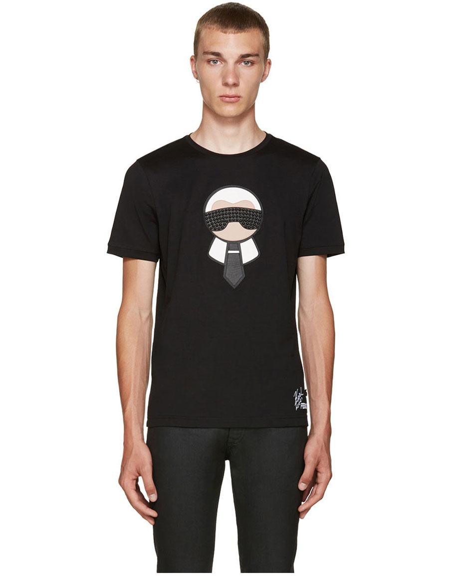 FENDI Black Karlito T Shirt