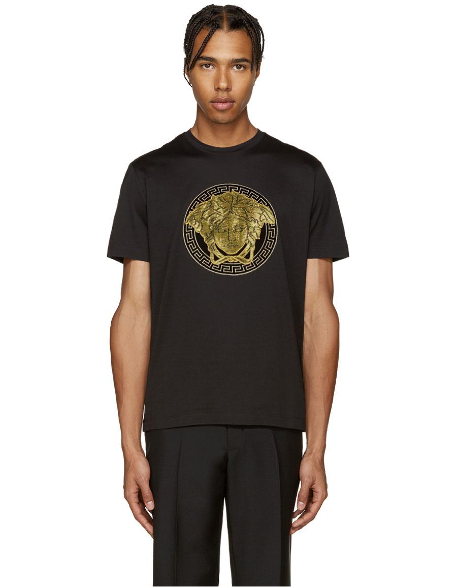 VERSACE Black & Gold Medusa T Shirt