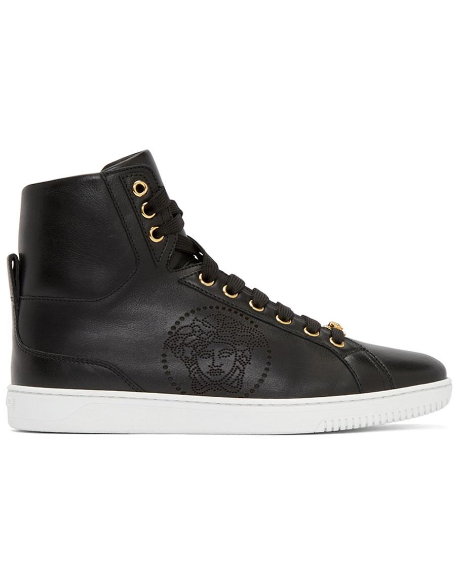VERSACE Black Perforated Medusa High Top Sneakers