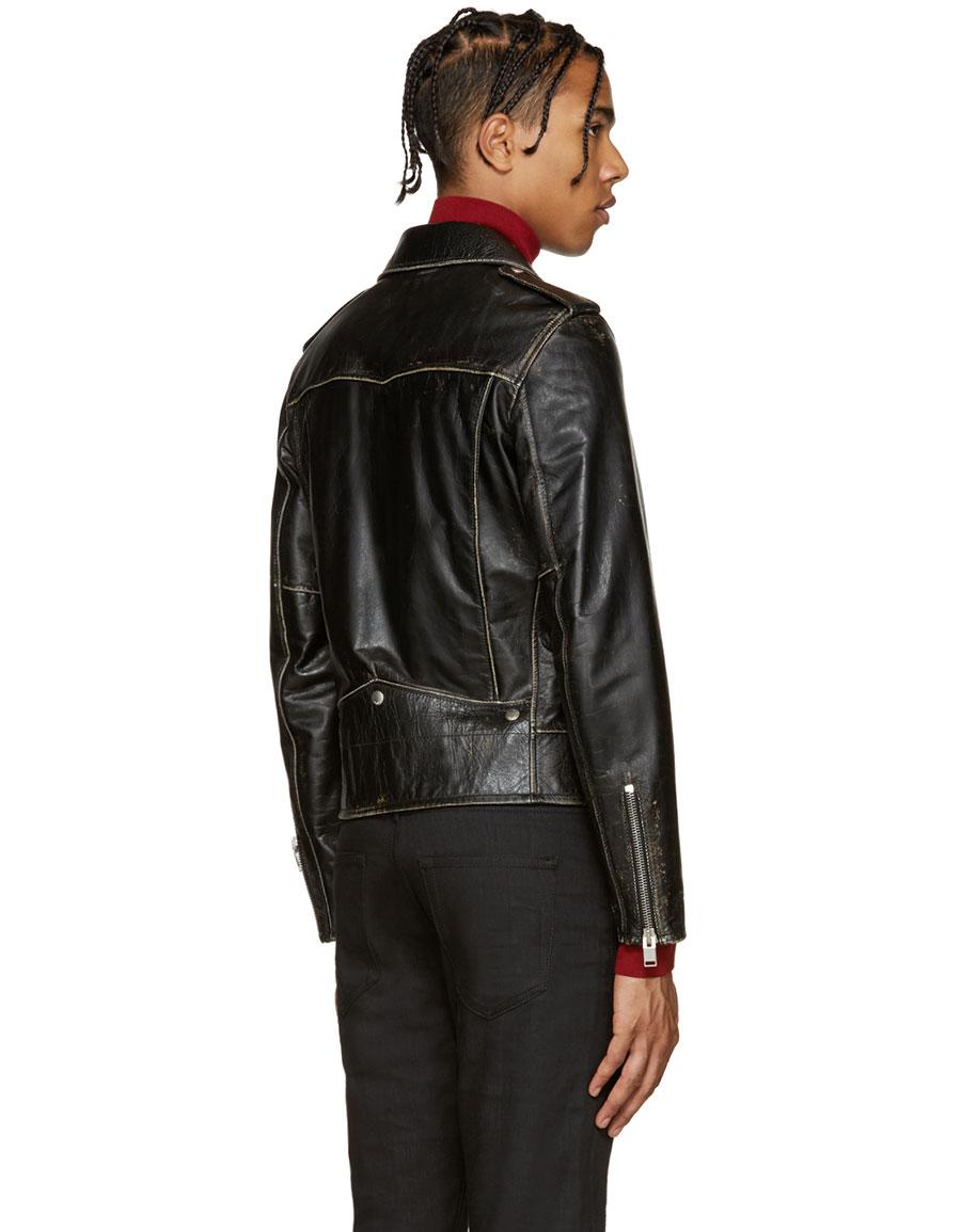 SAINT LAURENT Black Classic Motorcycle Jacket