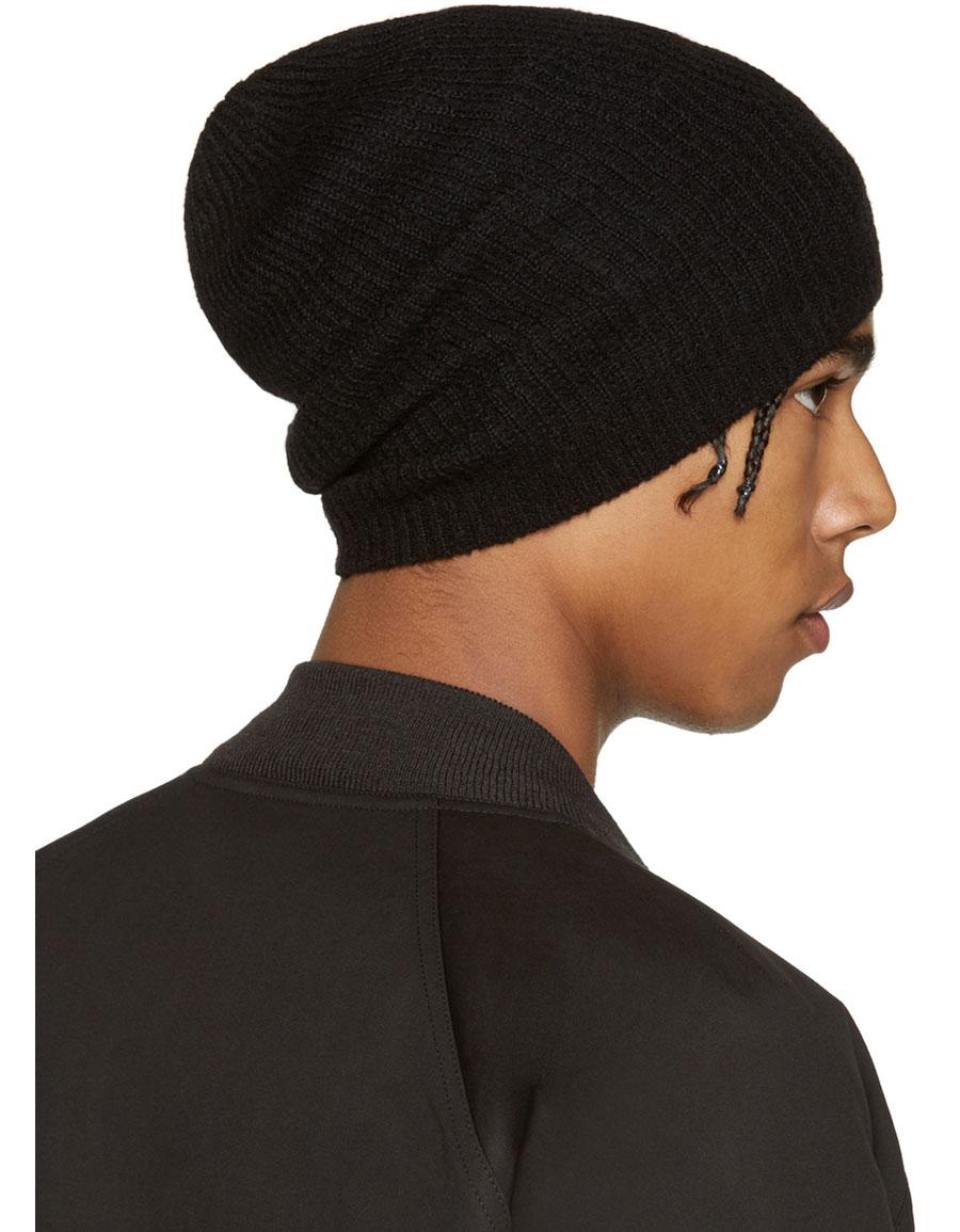 RICK OWENS Black Cashmere Beanie