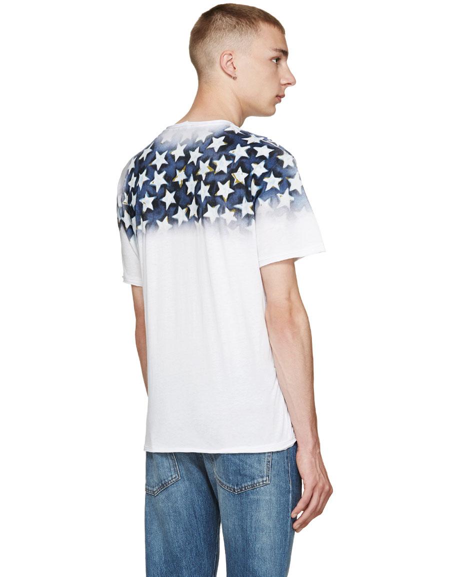 VALENTINO White & Blue 'Star Studded' T Shirt