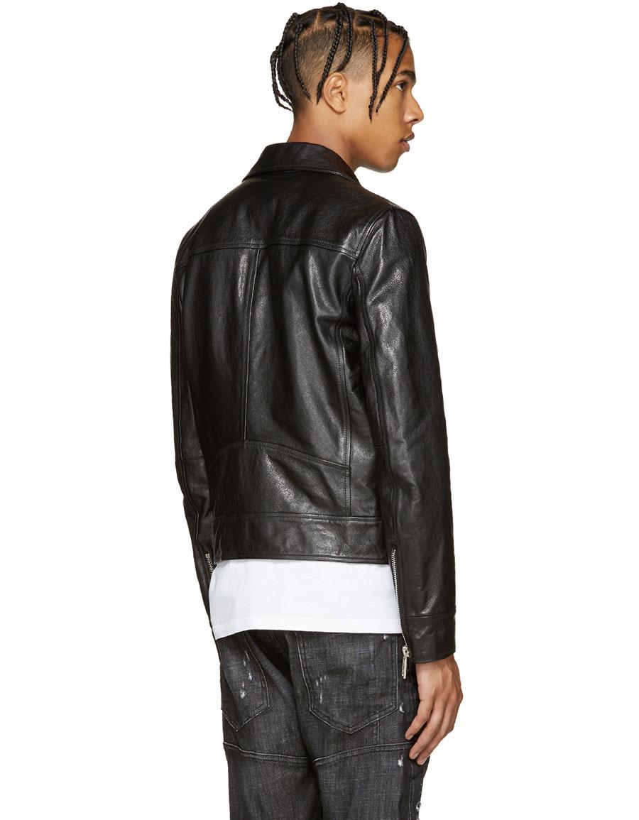 DSQUARED2 Black Leather Kiodo Biker Jacket
