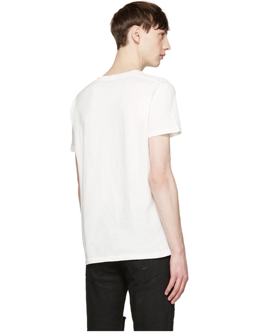 SAINT LAURENT White Destroyed T Shirt