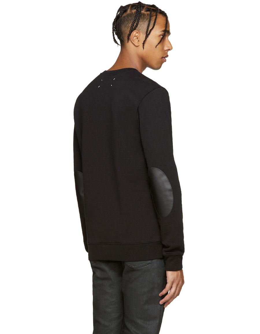 MAISON MARGIELA Black Elbow Patch Pullover