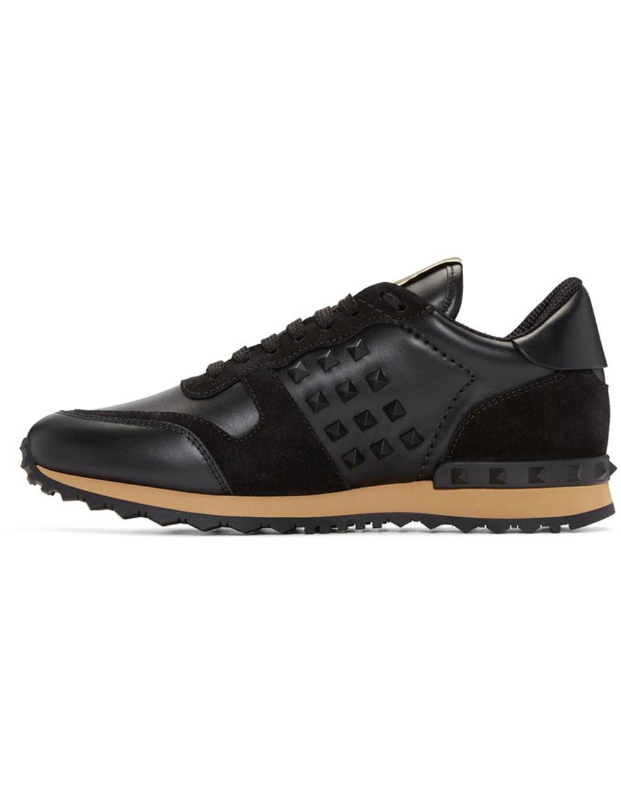 VALENTINO Black Rockstud Sneakers