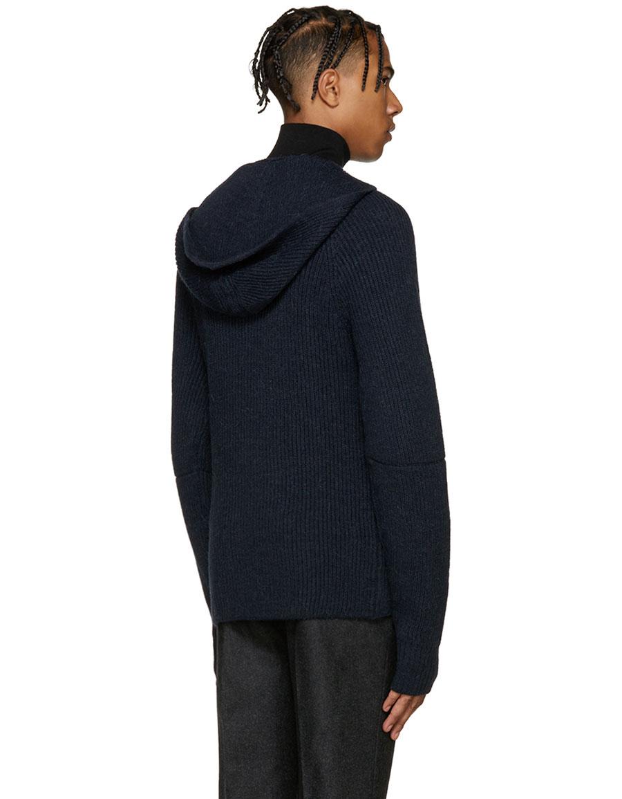 MAISON MARGIELA Navy Hooded Sweater