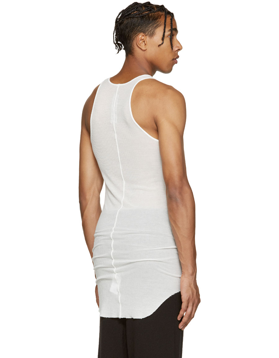 RICK OWENS White Ribbed Jersey Tank