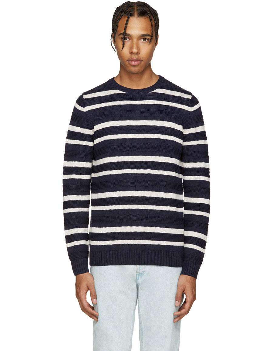 A.P.C. Navy & Cream Transat Sweater