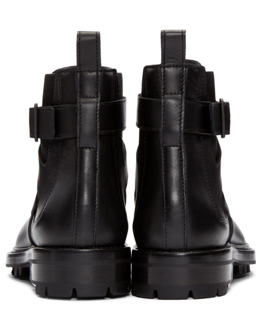 LANVIN Black Leather Straps Boots