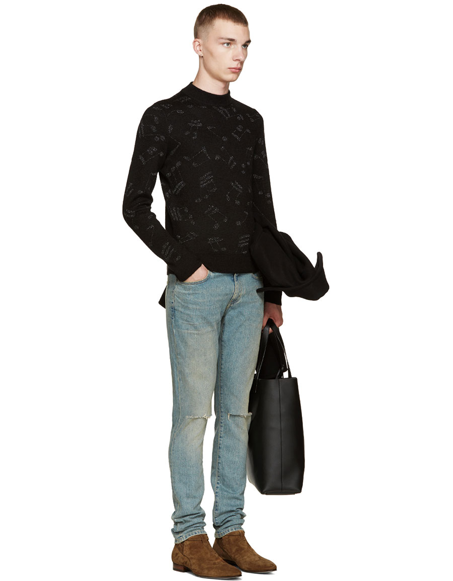 SAINT LAURENT Black Calf Hair Music Note Sweater