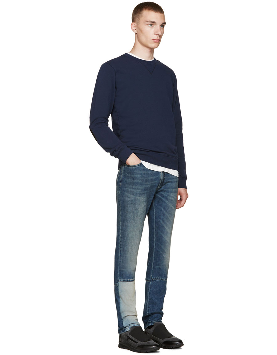 MAISON MARGIELA Navy Elbow Patch Pullover