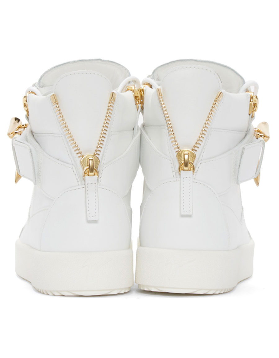 GIUSEPPE ZANOTTI White & Gold Horn High Top London Sneakers