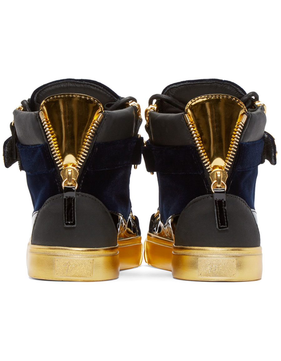 GIUSEPPE ZANOTTI Black & Gold Velvet London High Top Sneakers
