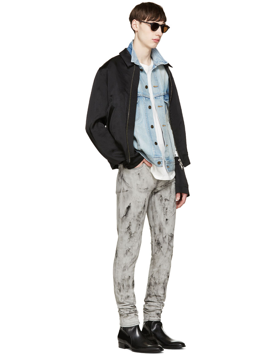 SAINT LAURENT Grey Marbled Skinny Jeans