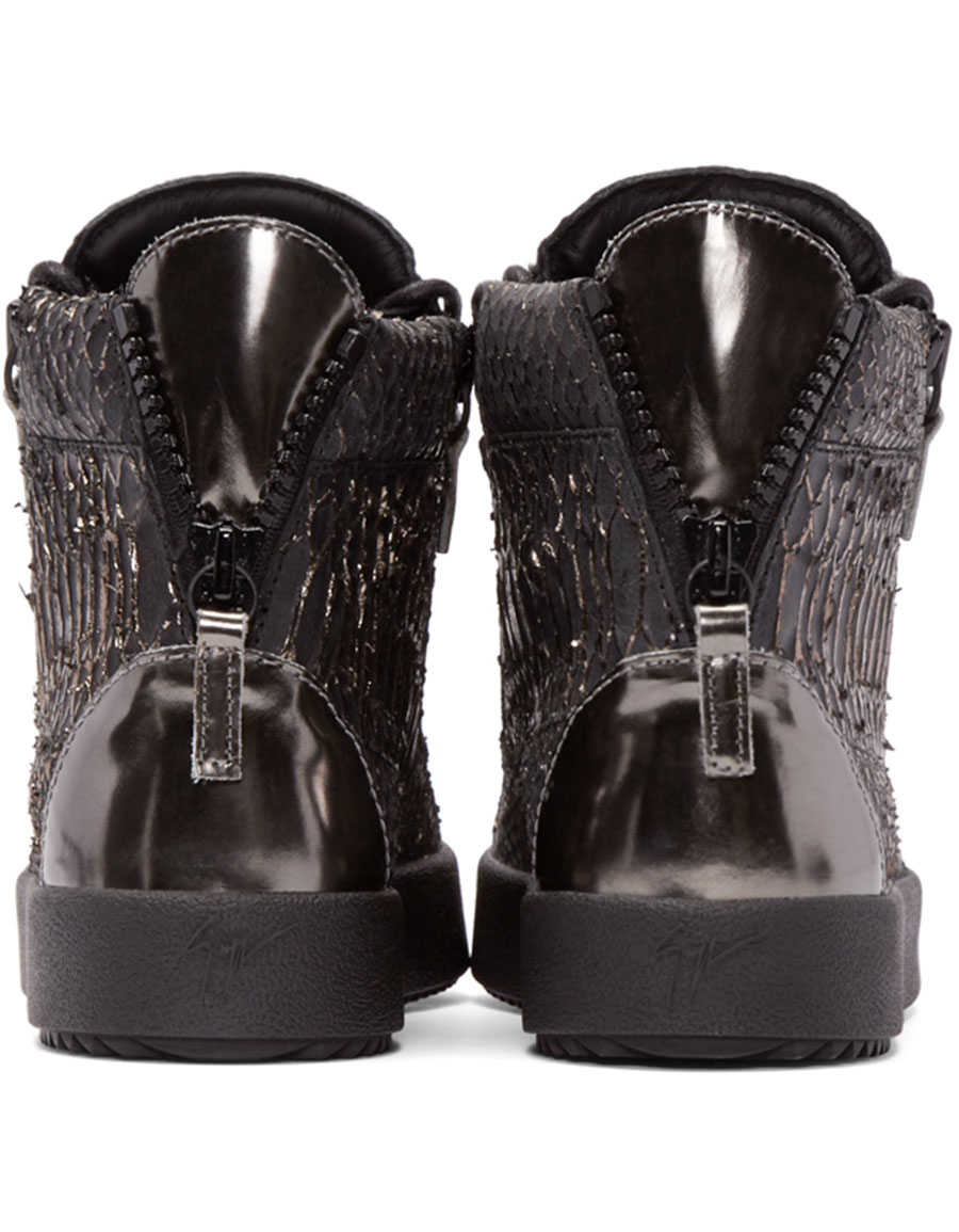 GIUSEPPE ZANOTTI Black Croc Embossed London High Top Sneakers