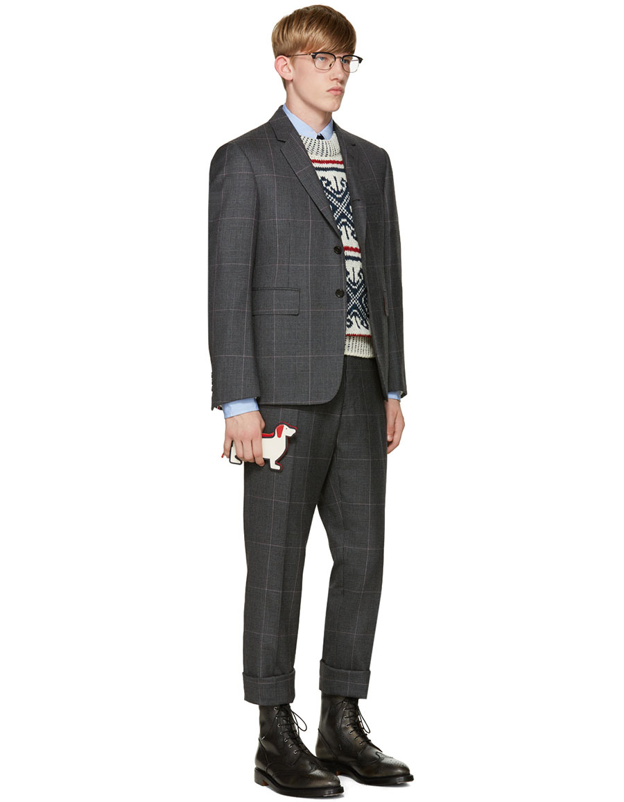 THOM BROWNE Tricolor Mohair Sweater