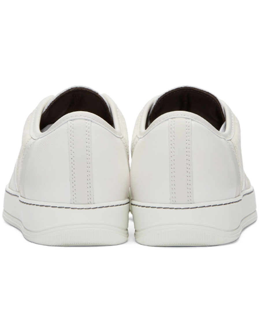 LANVIN White Leather & Suede Sneakers