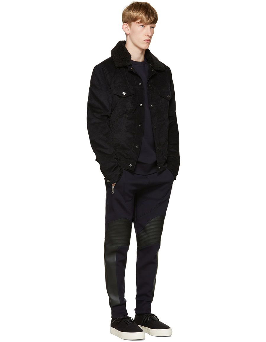 NEIL BARRETT Navy Quilted Biker Lounge Pants