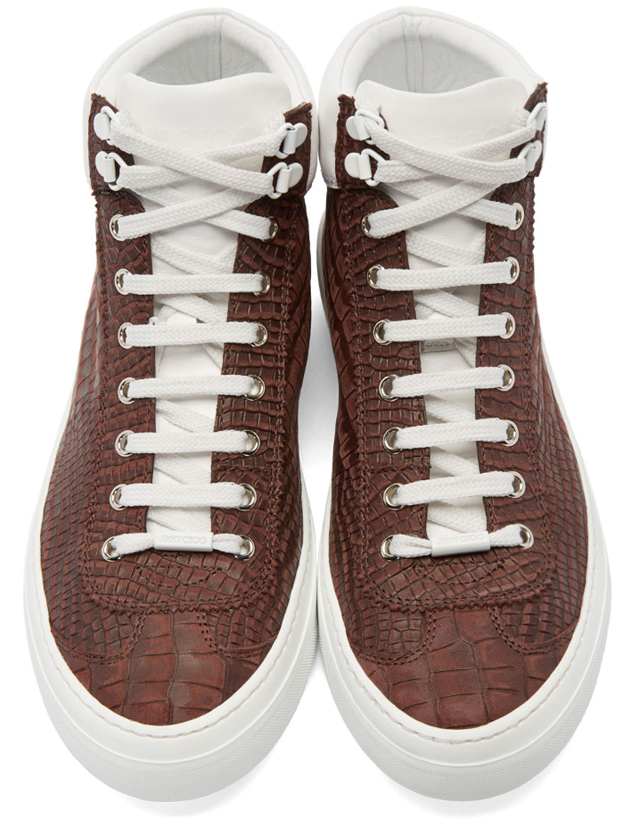 JIMMY CHOO Red Croc Embossed Argyle High Top Sneakers