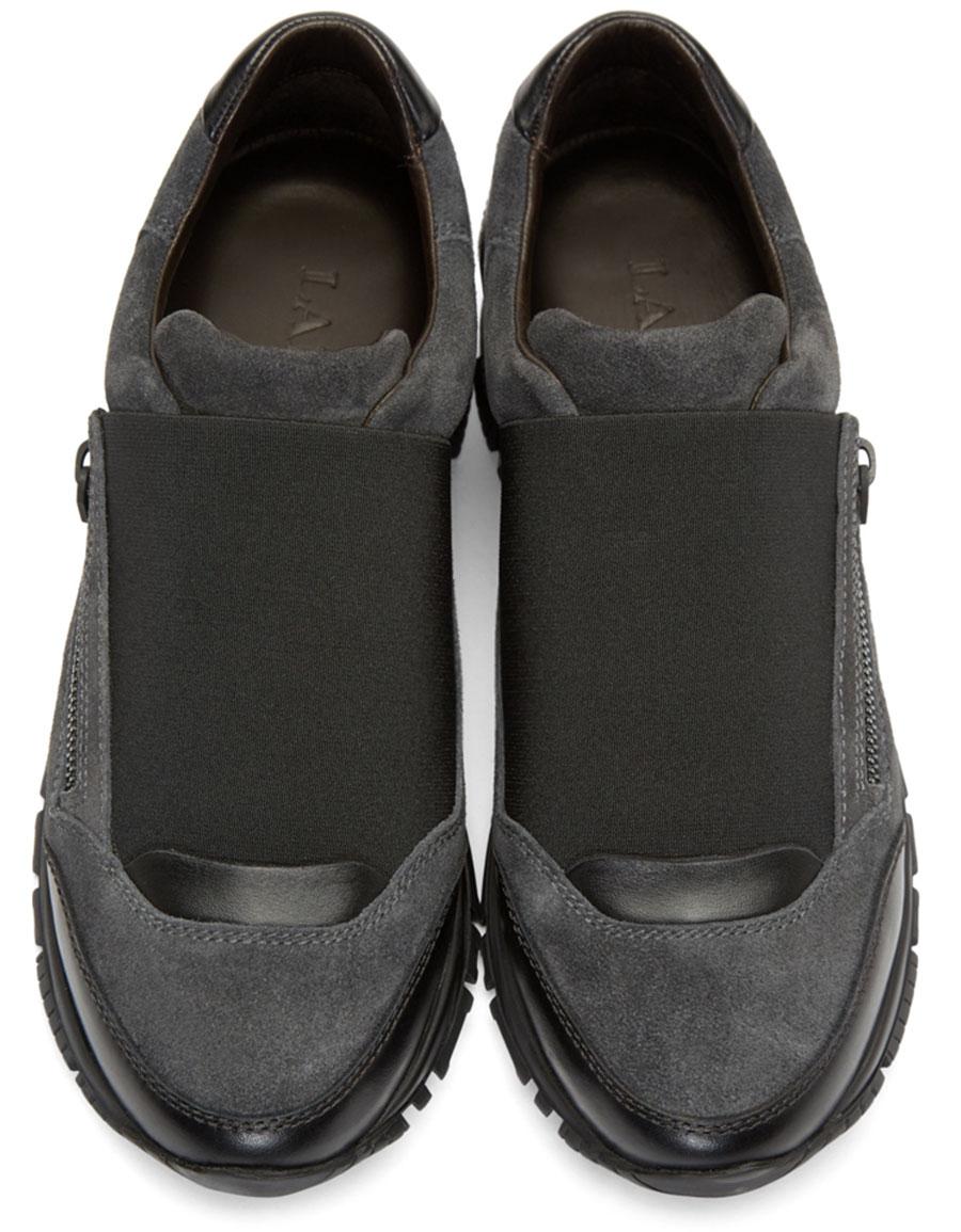 LANVIN Grey Suede Slip On Sneakers