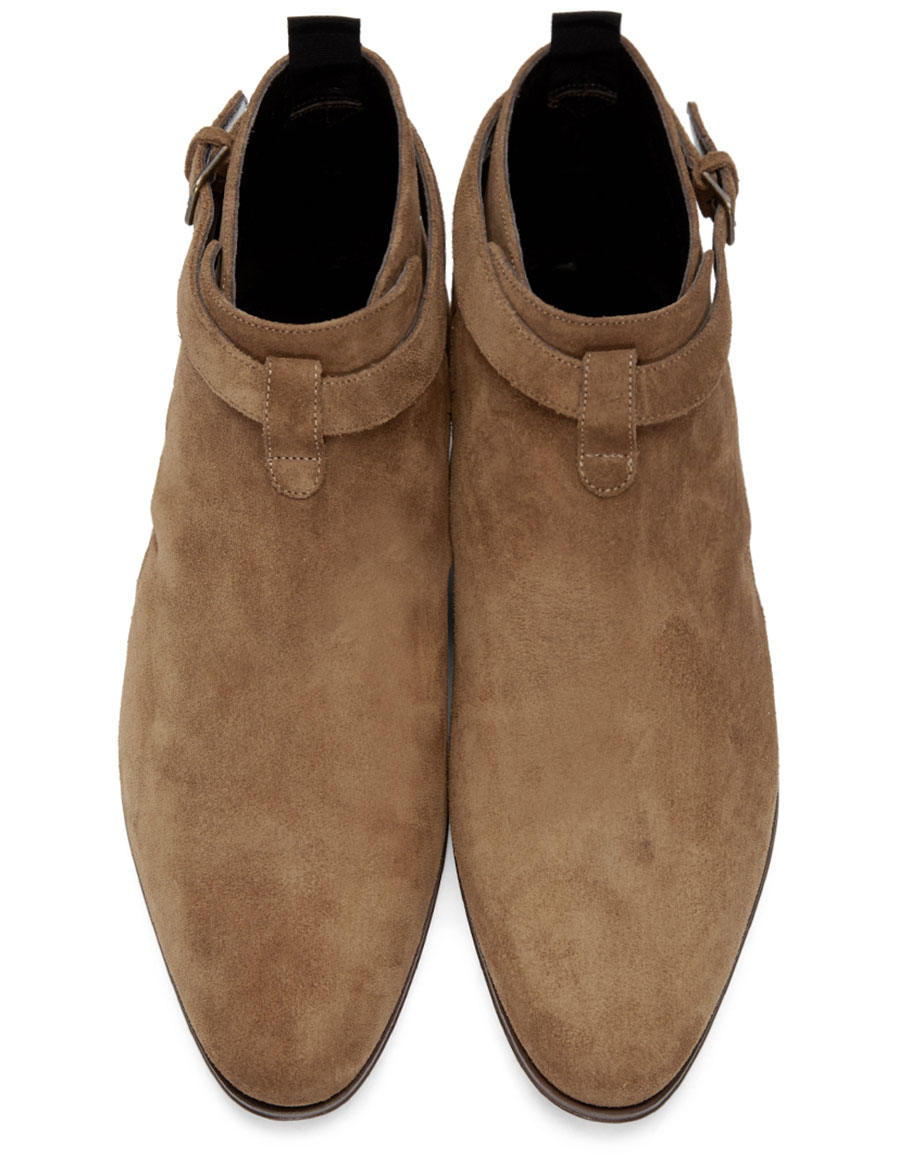 SAINT LAURENT Tan Suede London Boots