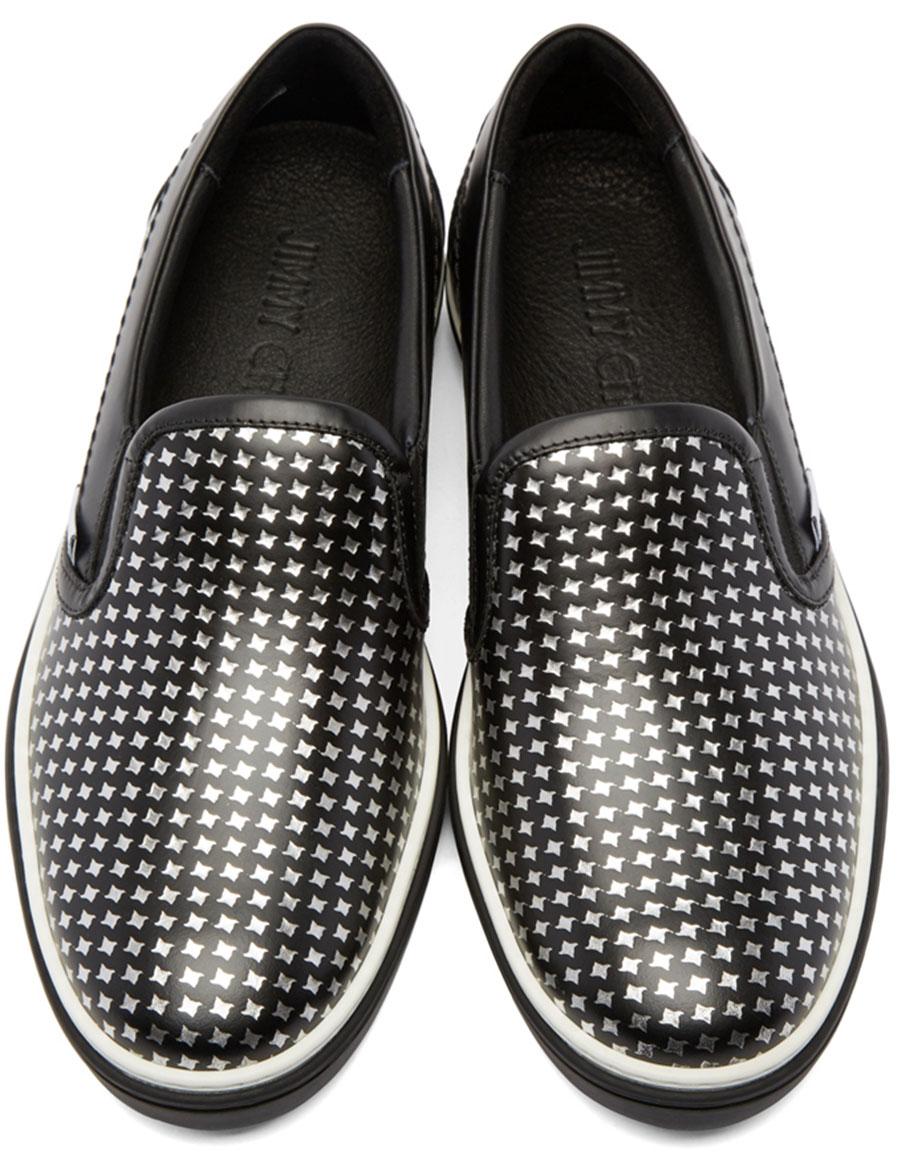 JIMMY CHOO Black & Silver Houndstooth Grove Sneakers
