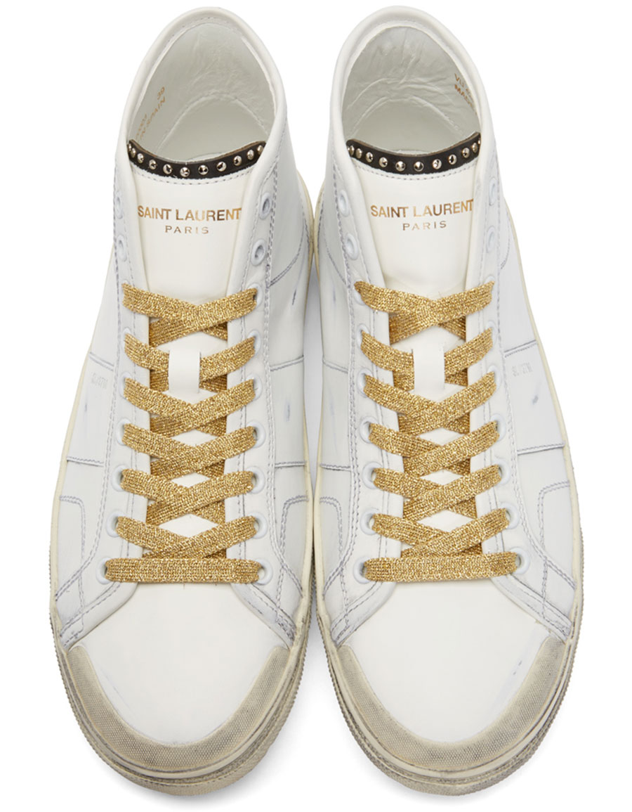 SAINT LAURENT White & Gold Court Classic SL/37M High Top Sneakers