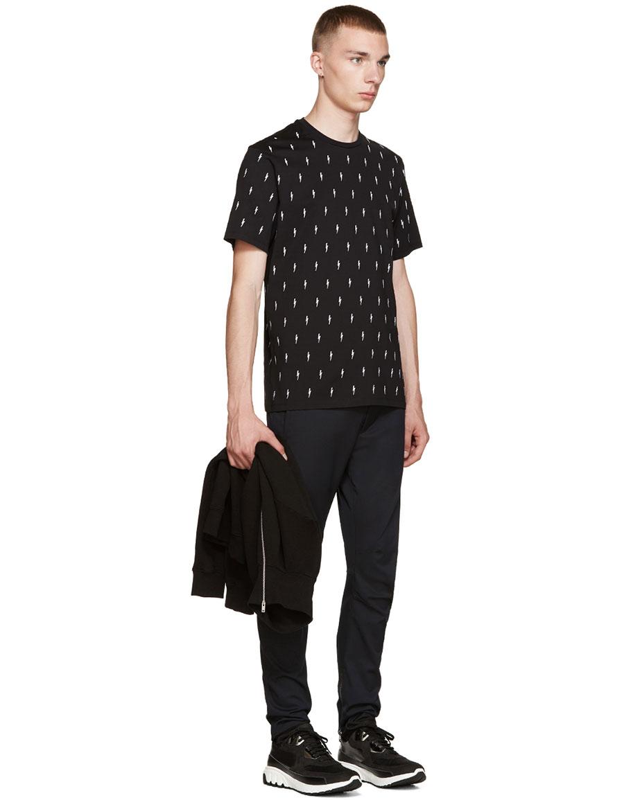 NEIL BARRETT Black & White Embroidered Thunderbolt T Shirt