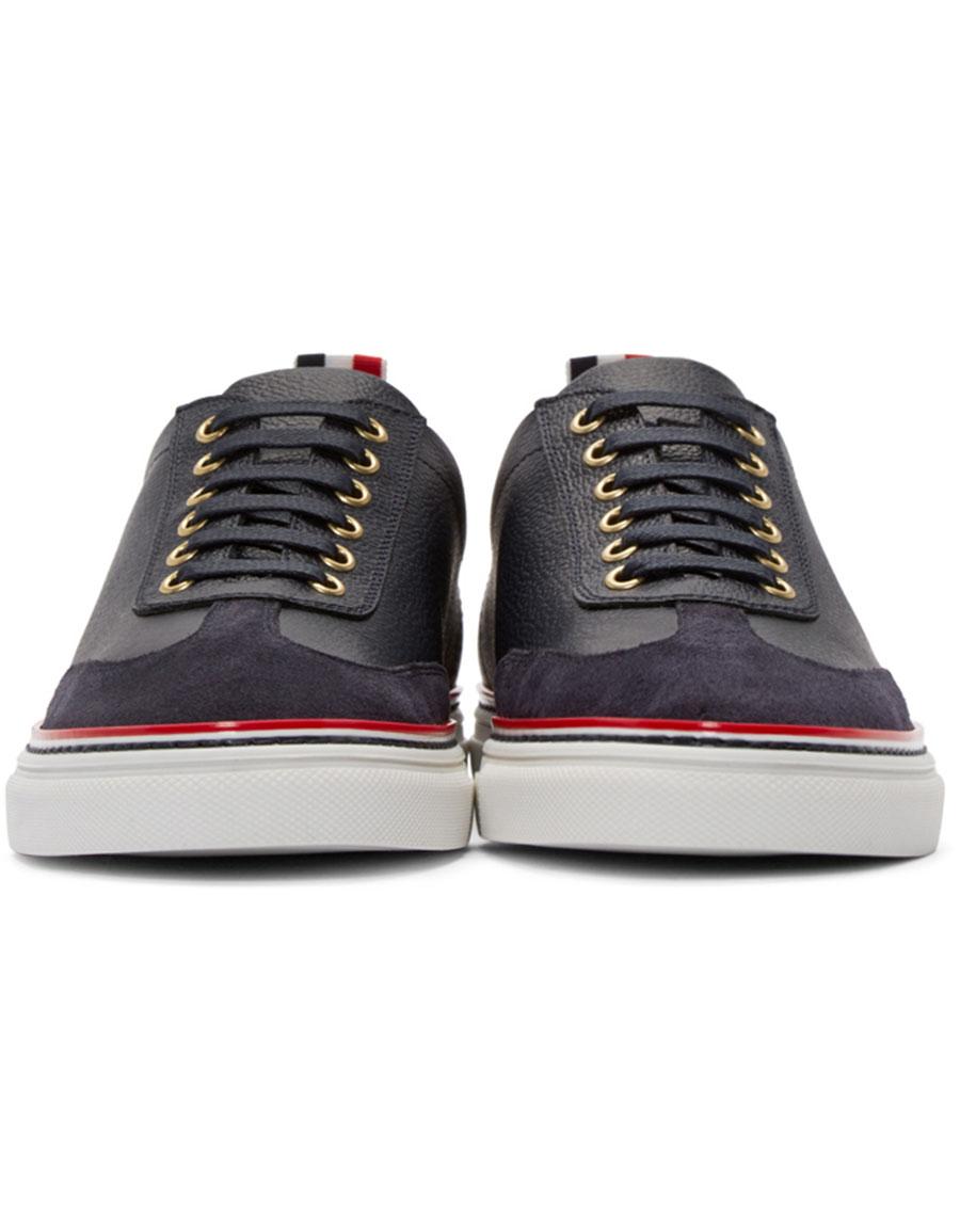 THOM BROWNE Navy Toe Cap Sneakers