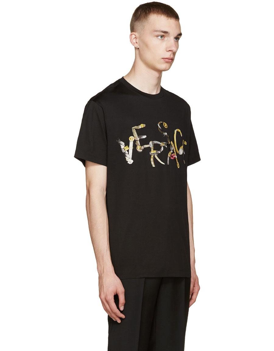 VERSACE Black Belt Logo T Shirt