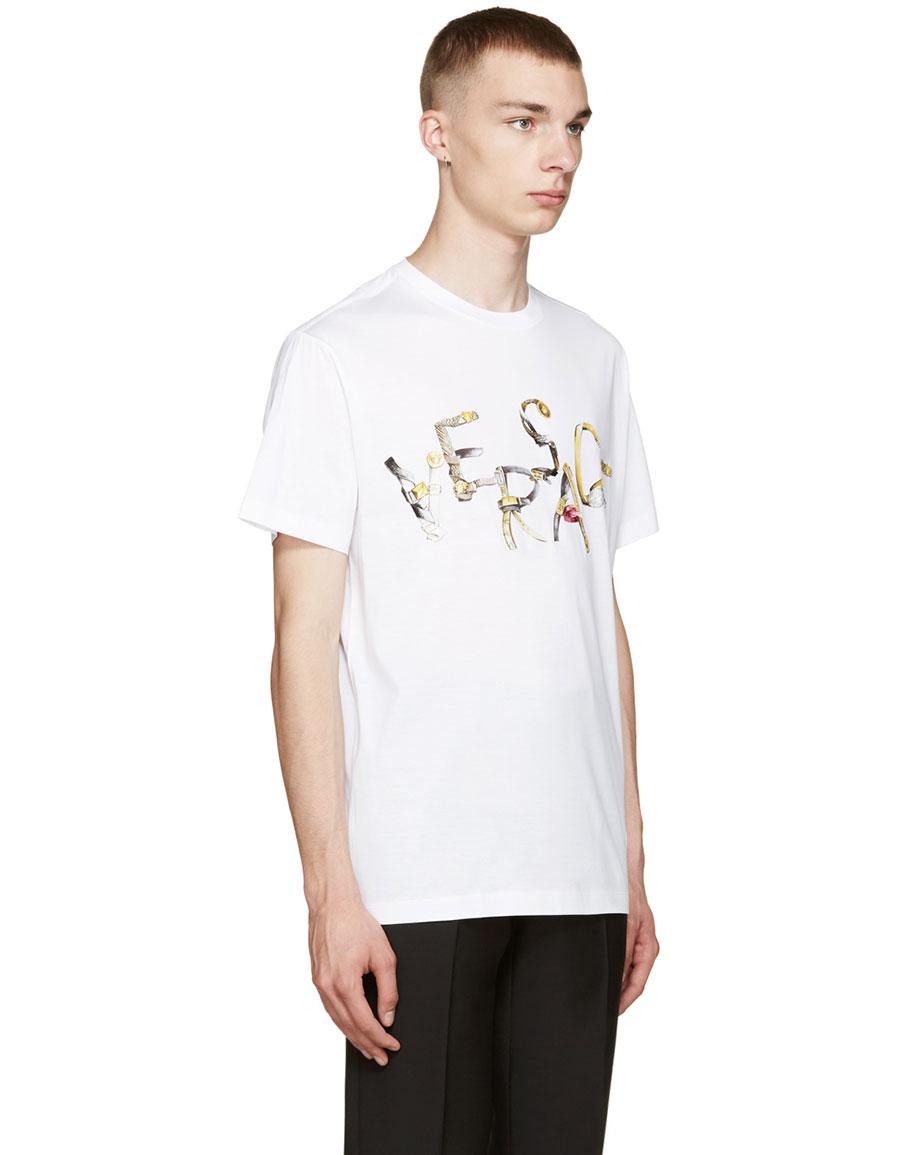 VERSACE White Belt Logo T Shirt
