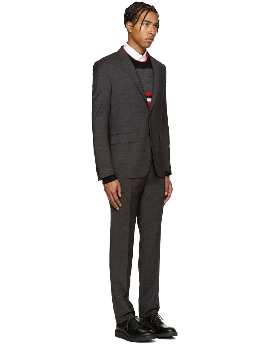 GIVENCHY Grey Textured Drop 8 Suit