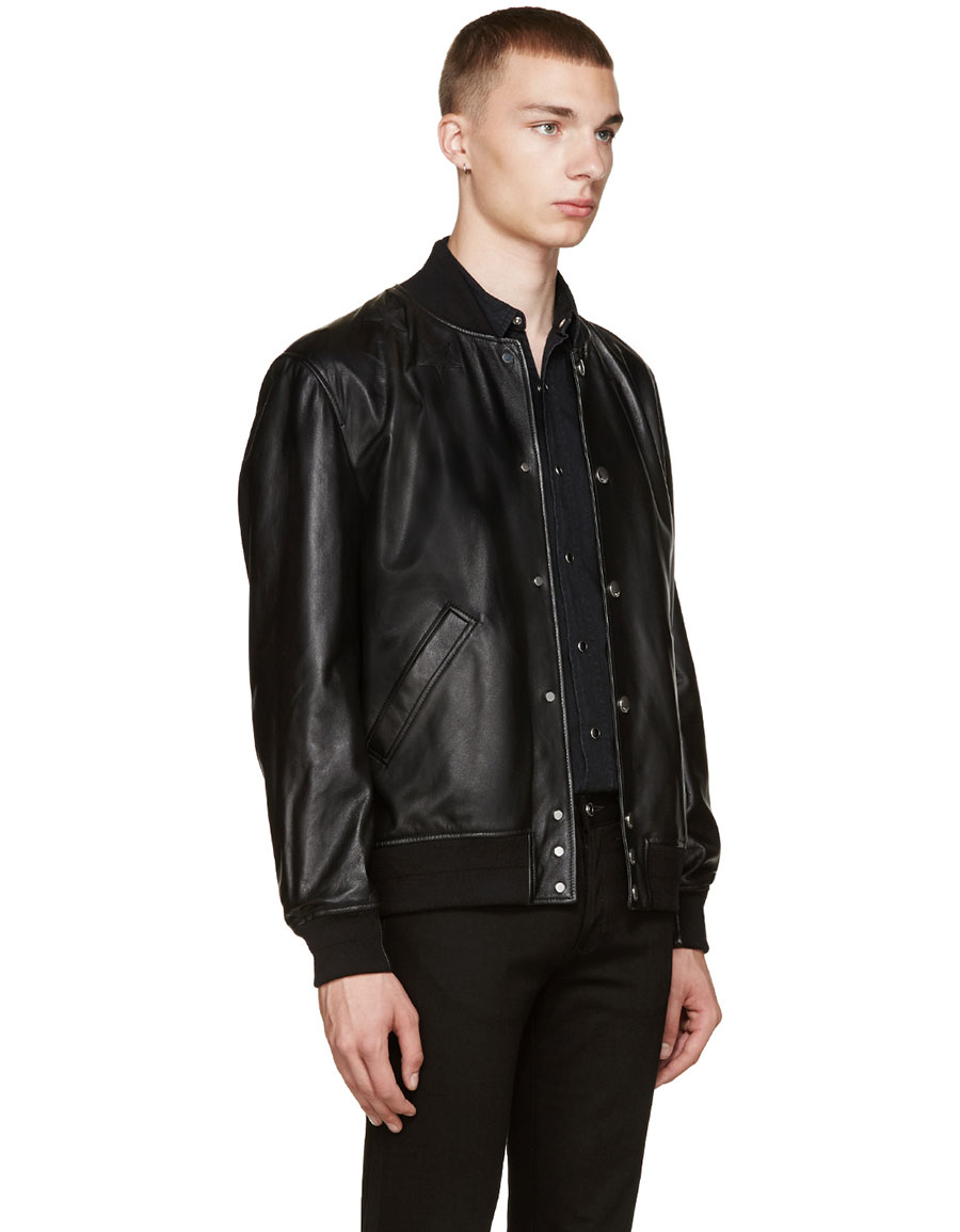 GIVENCHY Black Leather Stars Bomber Jacket