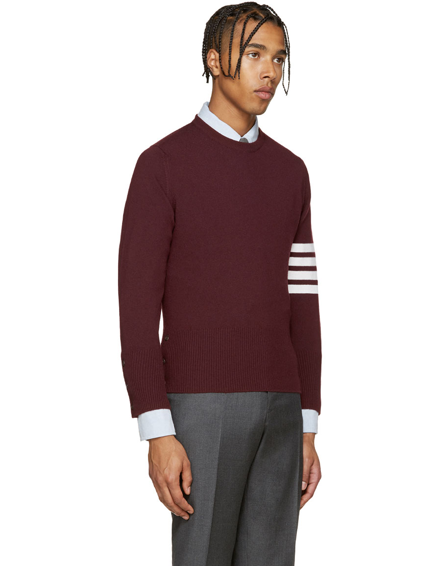 THOM BROWNE Burgundy Cashmere Pullover