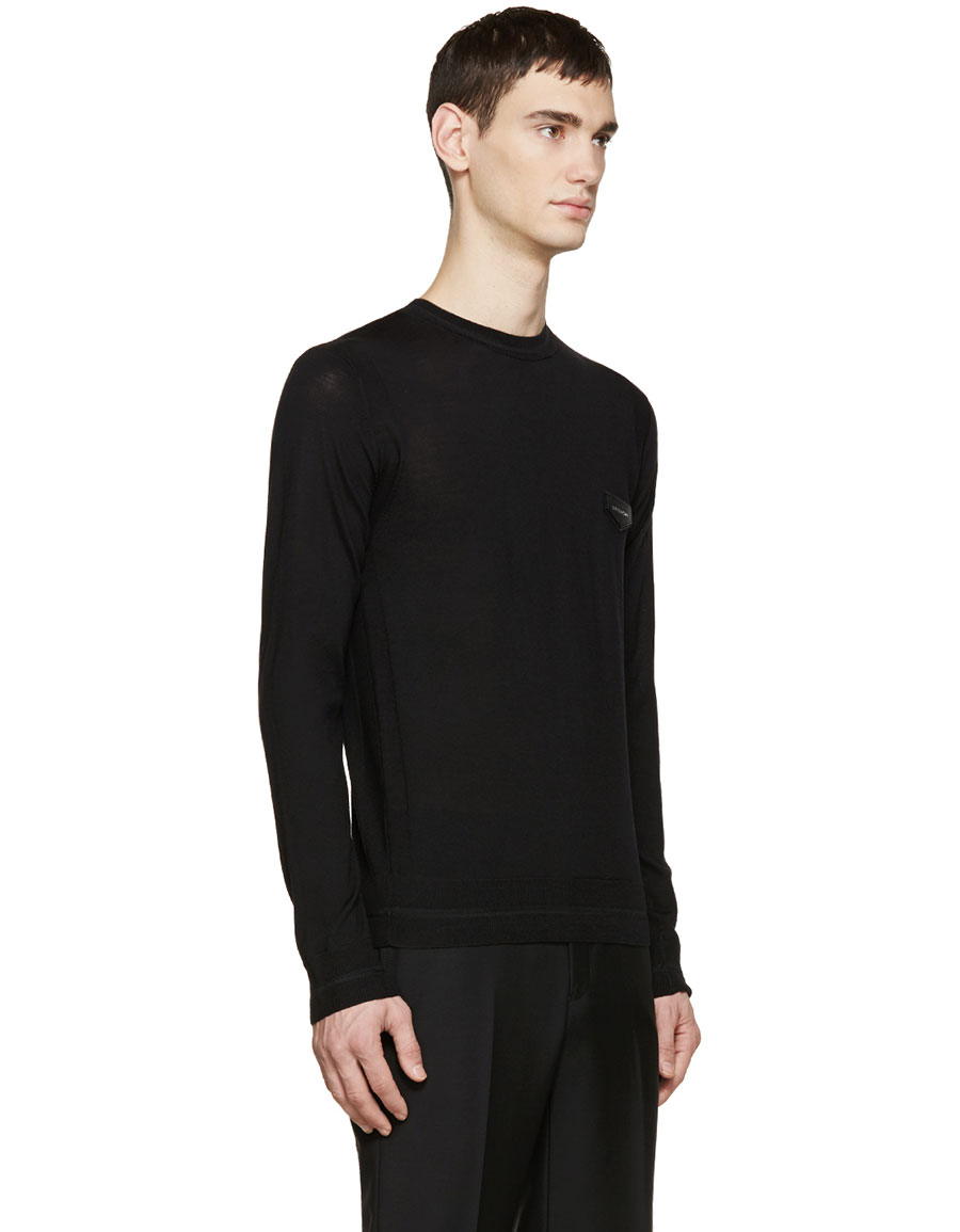 GIVENCHY Black Wool Logo Patch Sweater