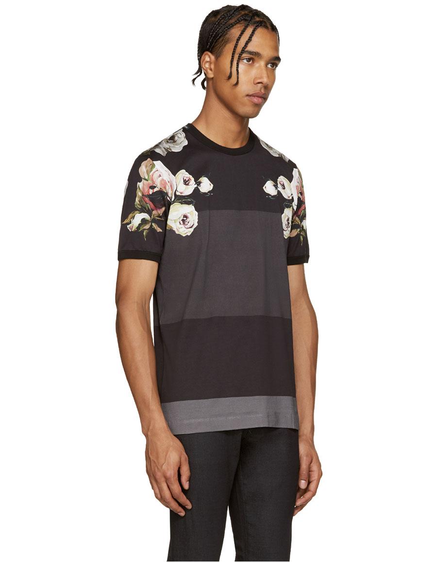 DOLCE & GABBANA Multicolor Flowers & Stripes T Shirt