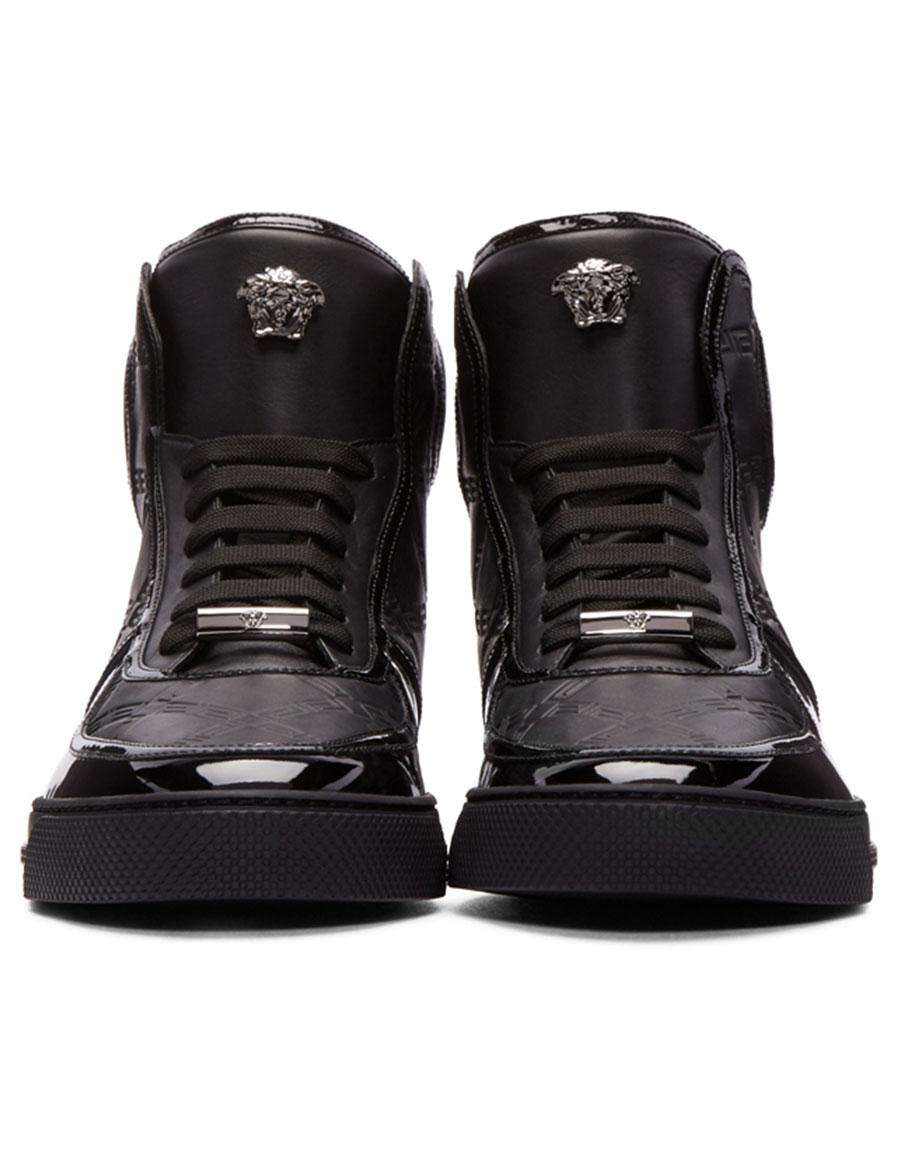 VERSACE Black Greek Key High Top Sneakers