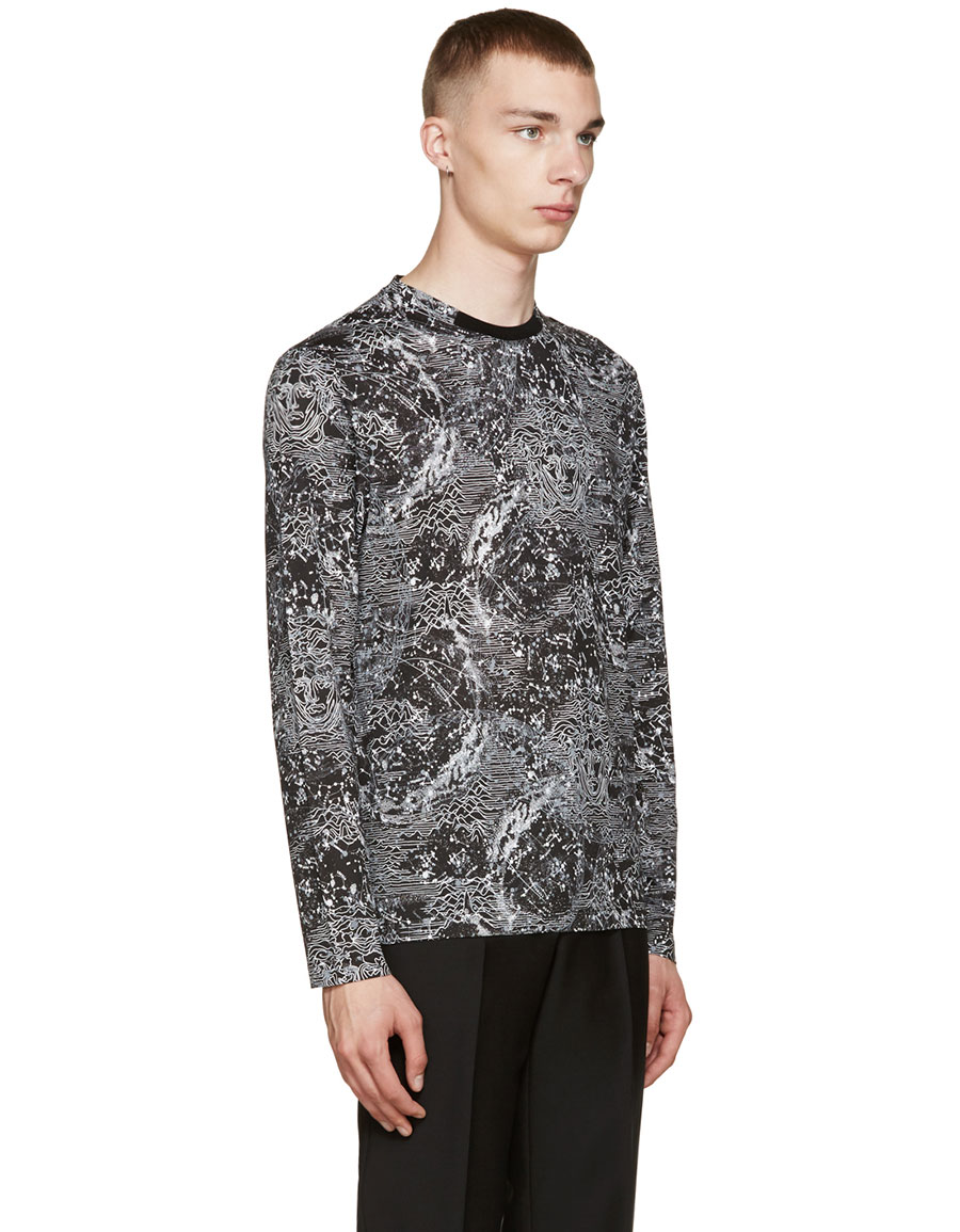 VERSACE Black Printed T Shirt