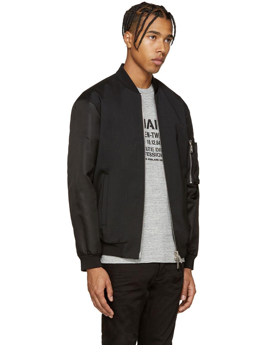 DSQUARED2 Black Wool Bomber Jacket