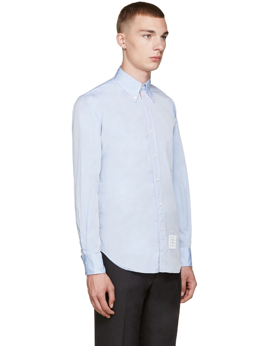 THOM BROWNE Blue Classic Oxford Shirt