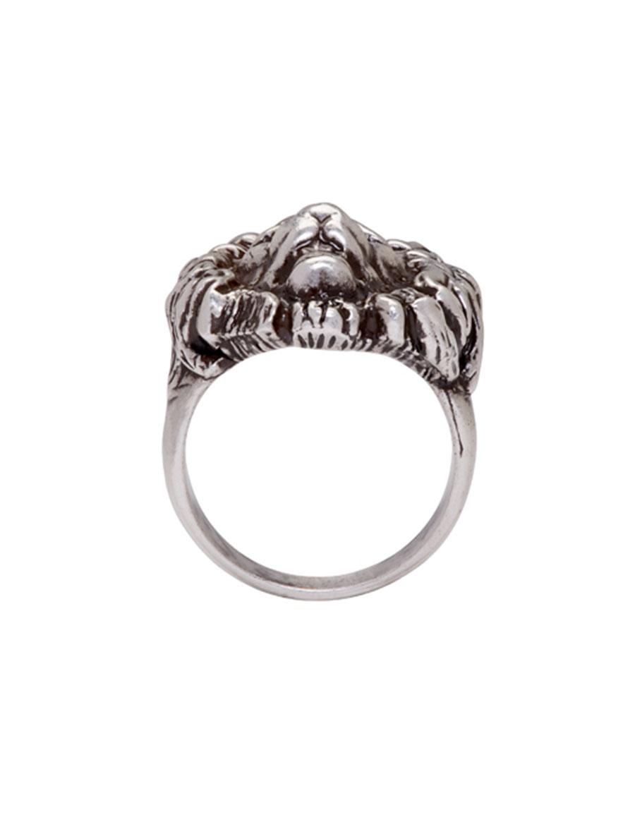 SAINT LAURENT Silver Lion Head Ring