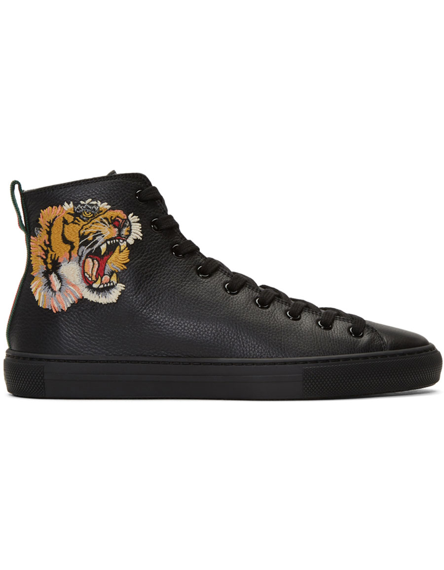 Gucci Black Major Tiger High Top Sneakers