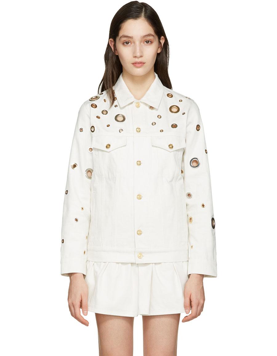 KENZO White Denim Eyelet Jacket
