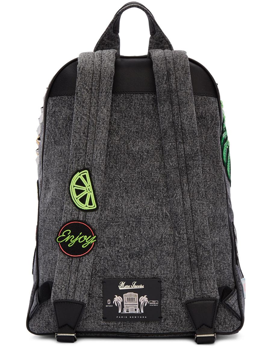 MARC JACOBS Grey Denim Paradise Biker Backpack