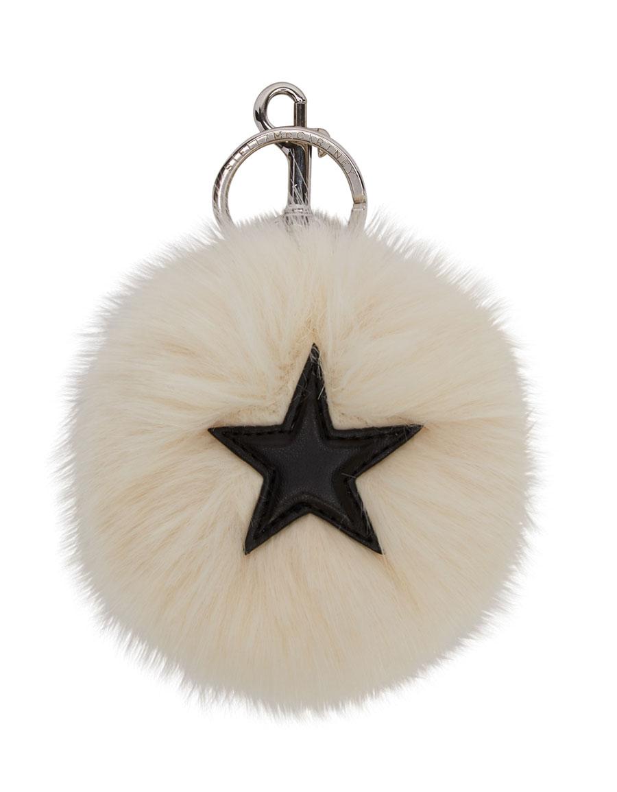STELLA MCCARTNEY Ivory Faux Fur Star Keychain