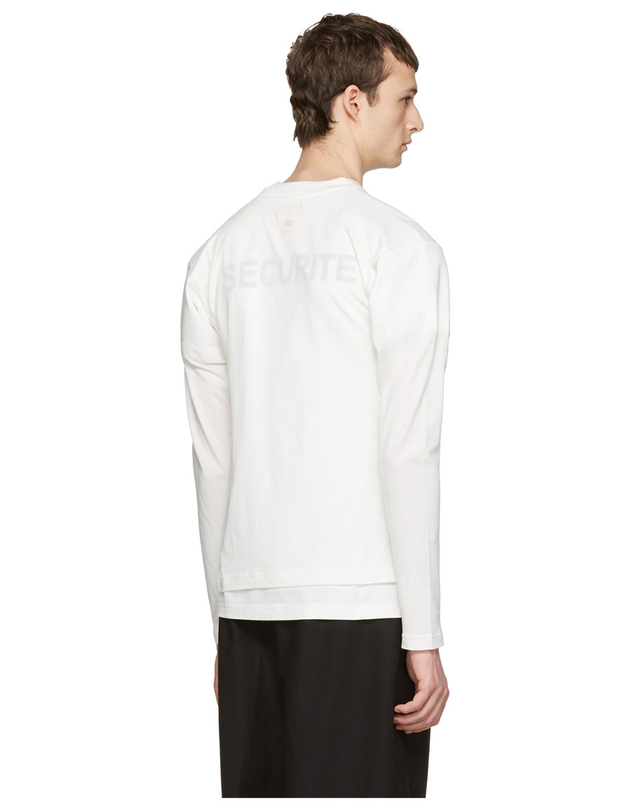 VETEMENTS White Hanes Edition Fitted Double 'Securite' T Shirt