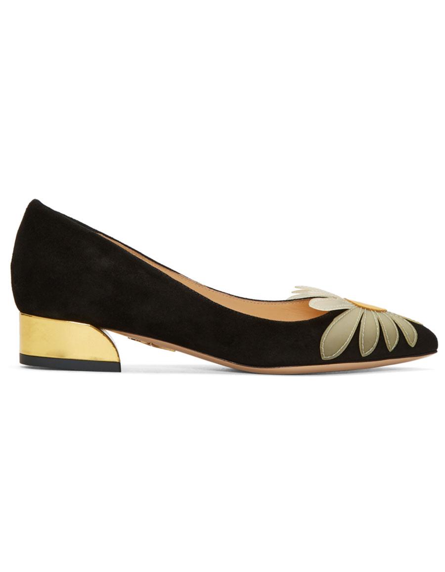 CHARLOTTE OLYMPIA Black Suede Aster Heels